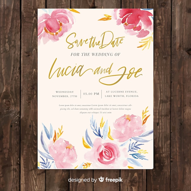 Creative wedding invitation template with watercolor peony flowers Free Vector