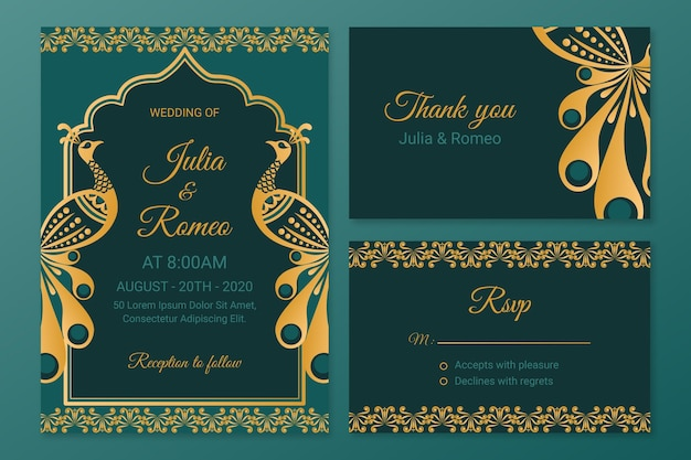 Creative wedding stationery for indian couple Free Vector