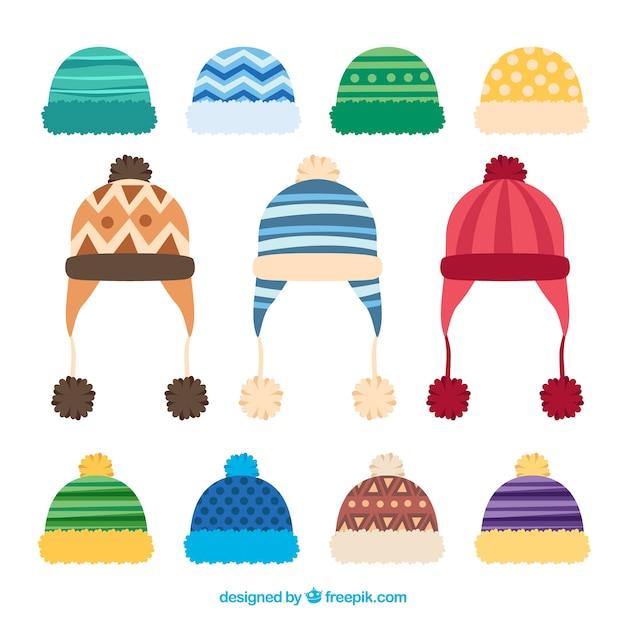 Creative winter cap collection Free Vector