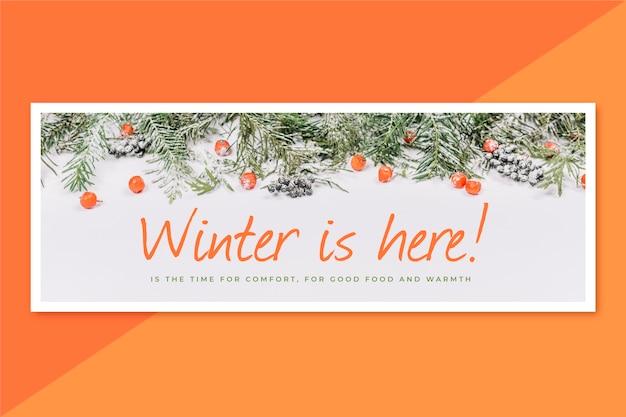 Creative winter facebook cover Free Vector