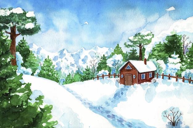 수채화의 창조적 인 겨울 풍경 무료 벡터