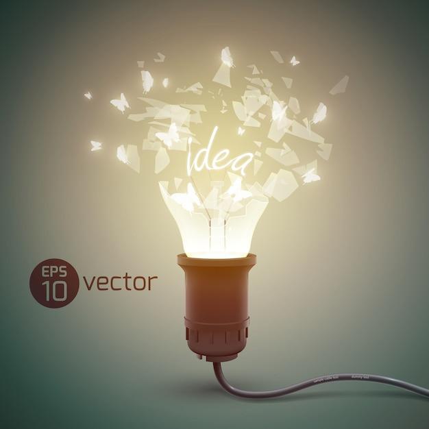 Креатив с осколками лампочки реалистичная разрывающаяся лампа накаливания со стеклянными осколками и иллюстрацией электрического провода Premium векторы