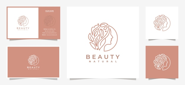 Creative women face logo design with a combination of leaves and business cards Premium Vector