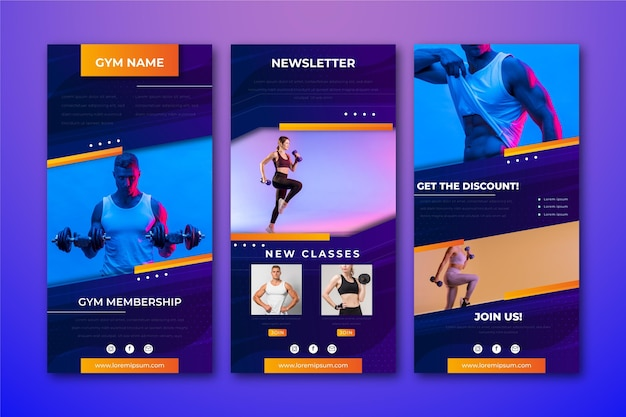 Creative workout email template with photos Free Vector