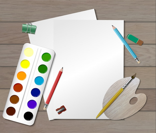 Creative workplace composition Free Vector