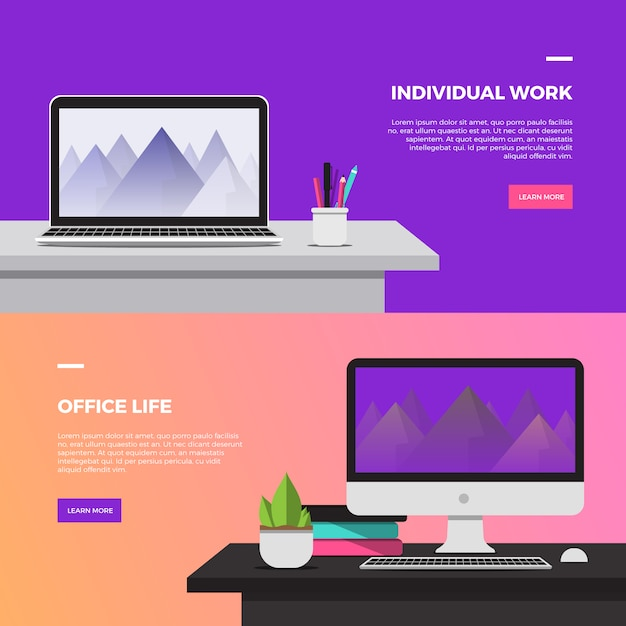 Creative workspace desktop banner  Free Vector
