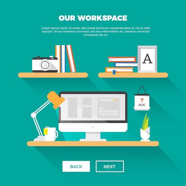 Creative workspace Free Vector
