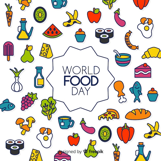 Creative world food day background Free Vector