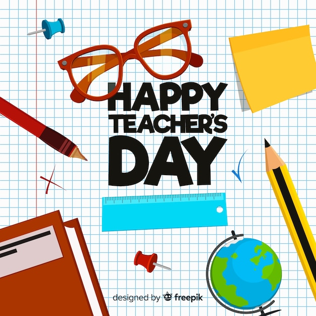 Creative world teachers day background design Free Vector