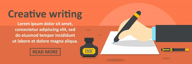 Creative writing banner template horizontal concept Premium Vector