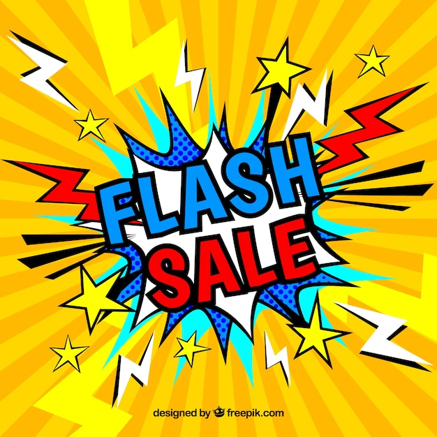 Creative yellow flash sale background in comic style Free Vector