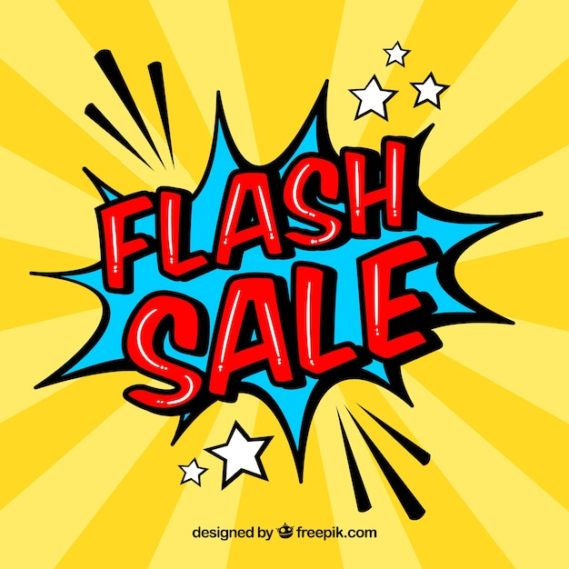 Creative yellow flash sale design in comic style Free Vector