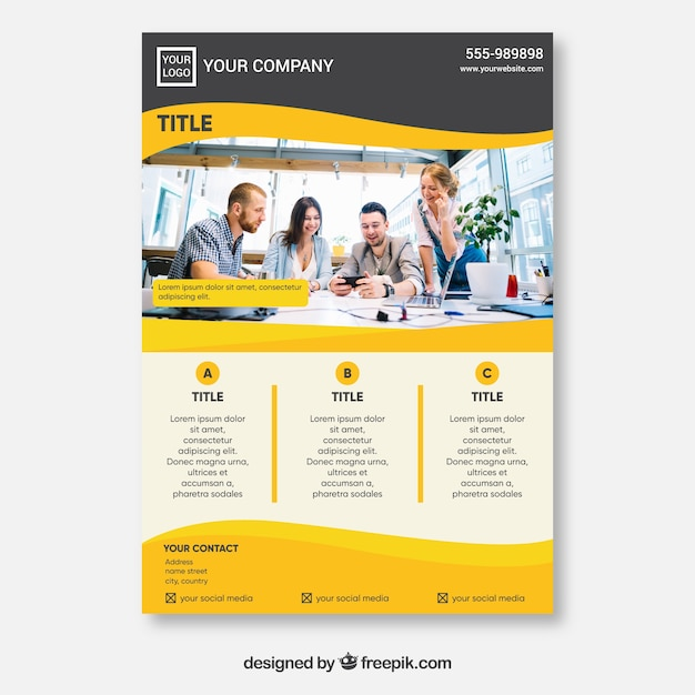 Creative yellow flyer concept Free Vector