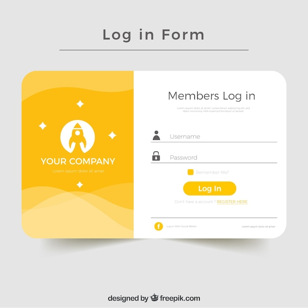 Creative yellow login form design Free Vector