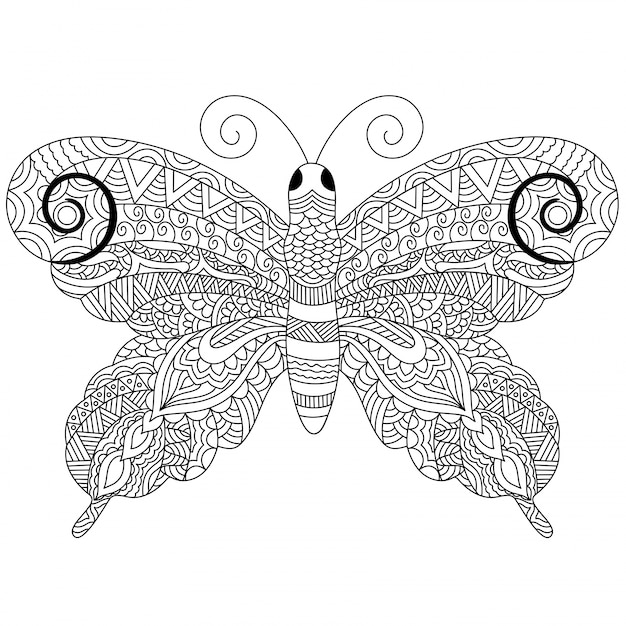 Creative zentangle style butterfly with ethnic floral ornaments, black and white freehand sketch in doodle style. hand drawn vector illustration. Free Vector