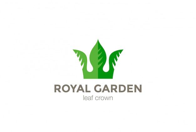 Зеленые листья корона абстрактный логотип дизайн шаблона. эко природа creative бизнес логотип концепция значок. Бесплатные векторы