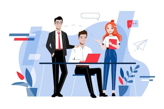 Творчество и концепция совместной работы. собрание деловых людей. группа молодых деловых людей разрабатывают и работают над проектом вместе в офисе. мультфильм линейный контур плоский векторные иллюстрации. Premium векторы