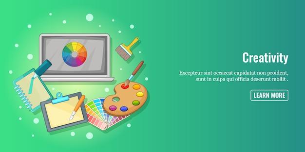 Creativity banner horizontal man, cartoon style Premium Vector