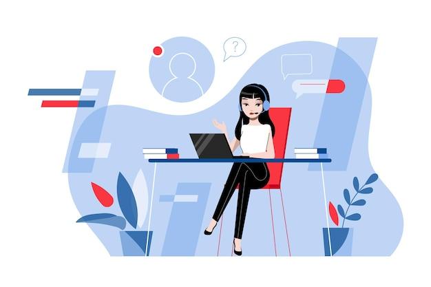 Творчество, мозговой штурм, инновации и концепция совместной работы. работник технической поддержки женщины с гарнитурой работает в консультационном центре или офисе. мультфильм линейный контур плоский векторные иллюстрации. Premium векторы