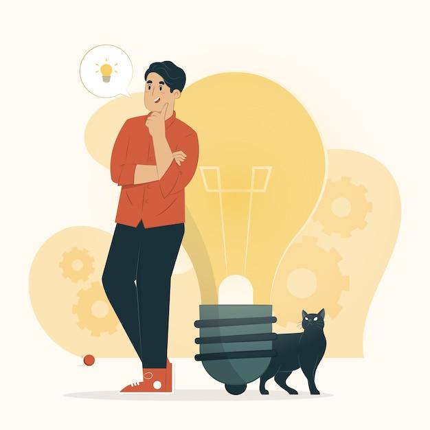 Концепция творчества человек с большими мыслями иллюстрации Premium векторы