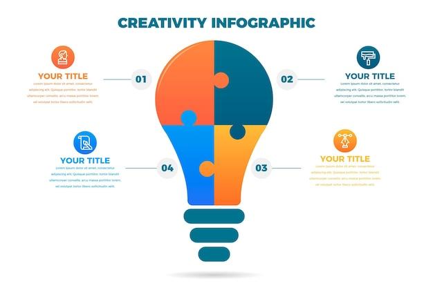 평면 디자인의 창의력 인포 그래픽 무료 벡터