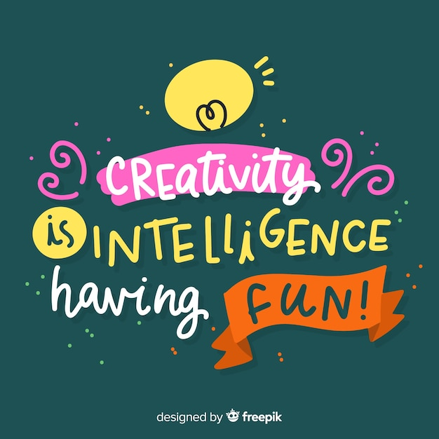 Creativity lettering quote background hand drawn design Free Vector