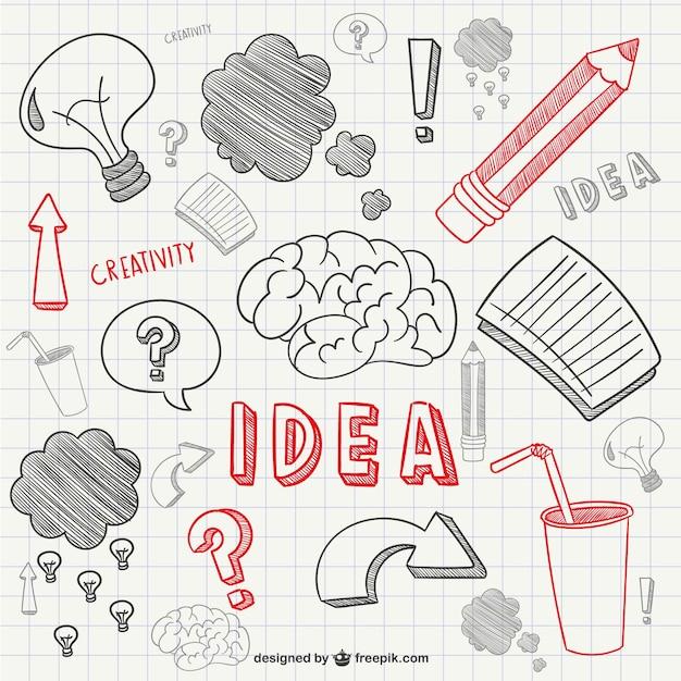 Creativity scribbles Free Vector