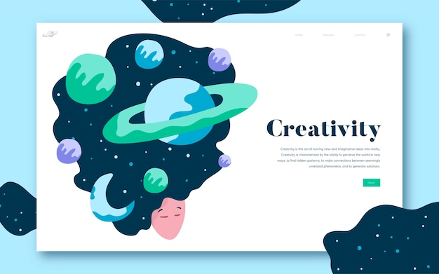 Creativity and space website graphic Free Vector