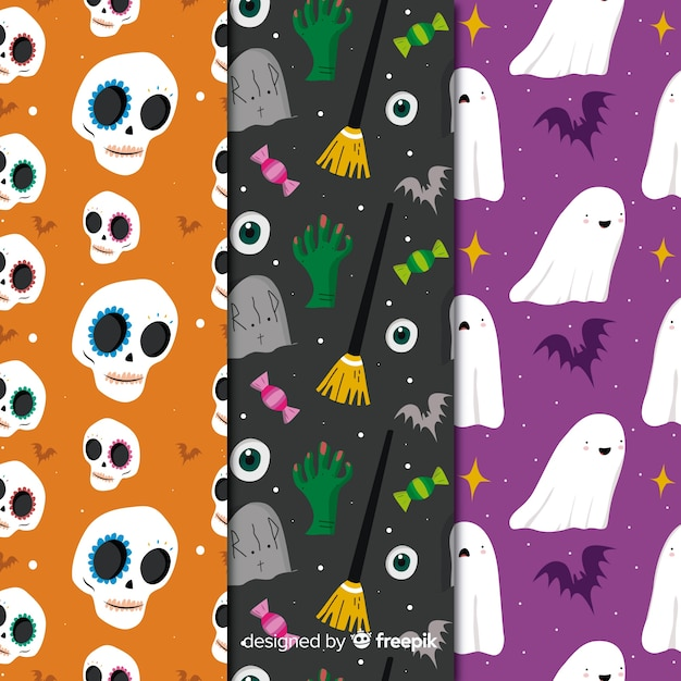 Creatures collection with seamless halloween pattern Free Vector