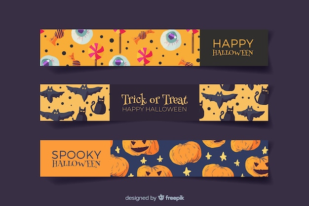 Creatures in watercolour halloween banners Free Vector