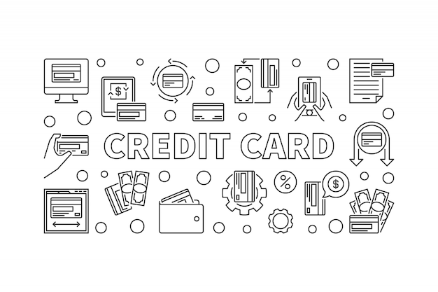 Credit car concept banner in thin line style. illustration Premium Vector