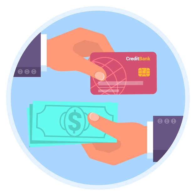 Credit card and cash payment flat design icon template for online shopping cashback human hands holding plastic card and banknotes banner mock up for atm bank money loading and withdrawal Premium Vector
