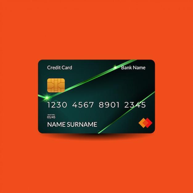 Credit card design templates metalic green motif line Premium Vector