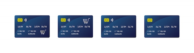 Credit card mock up, credit card paywave, shopping car, Premium Vector