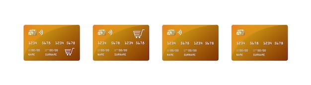 Кредитная карта макет, кредитная карта paywave, магазин покупок, Premium векторы