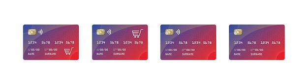 Credit card mock up, credit card paywave, shopping car, Premium Vector