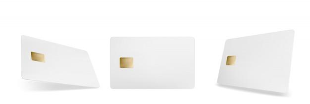 クレジットカードのモックアップ、チップと分離された空のテンプレート 無料ベクター