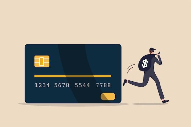 クレジットカードのオンラインハッキング、オンラインハッキングまたは金融強盗の概念、クレジットカードのオンライン決済からのドル記号のお金のサインの大きな袋で実行している暗い黒い強盗の若い神秘的な泥棒 Premiumベクター