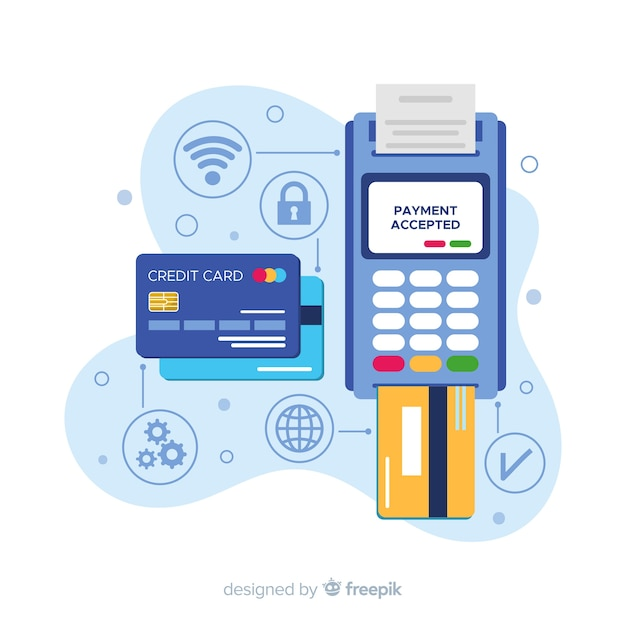 Credit card payment concept for landing page Free Vector