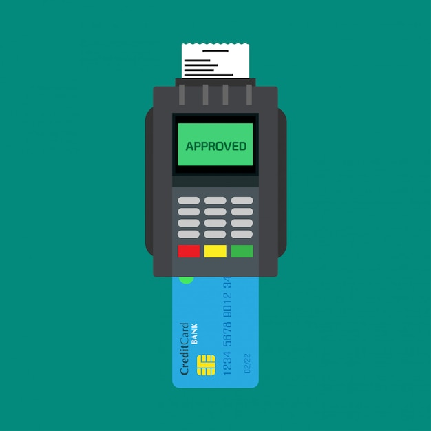 Credit card reader banking paying device atm vector icon top view. Premium Vector