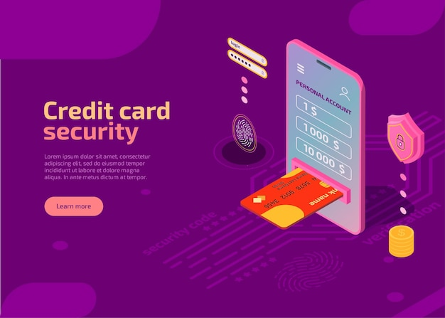Credit card security isometric illustration protect identity information on smartphone screen Free Vector