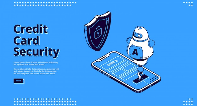 クレジットカードセキュリティweb電話とロボット 無料ベクター