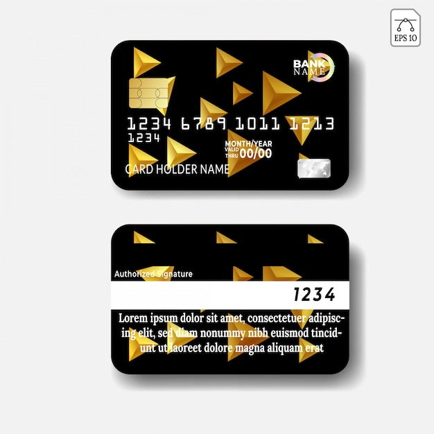 Credit Card Template With Abstract Design Vector