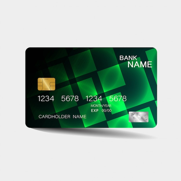 Credit Card Template With Green Elements Vector