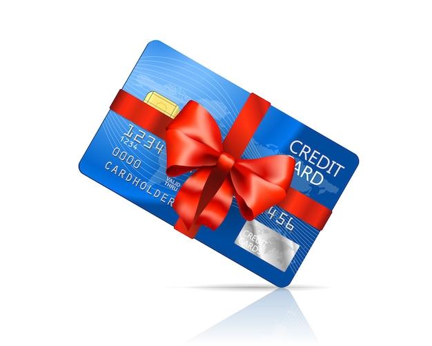 分離された赤い弓のクレジットカード 無料ベクター