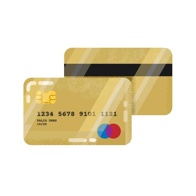 Кредитная или дебетовая банковская карта в золотом дизайне Premium векторы