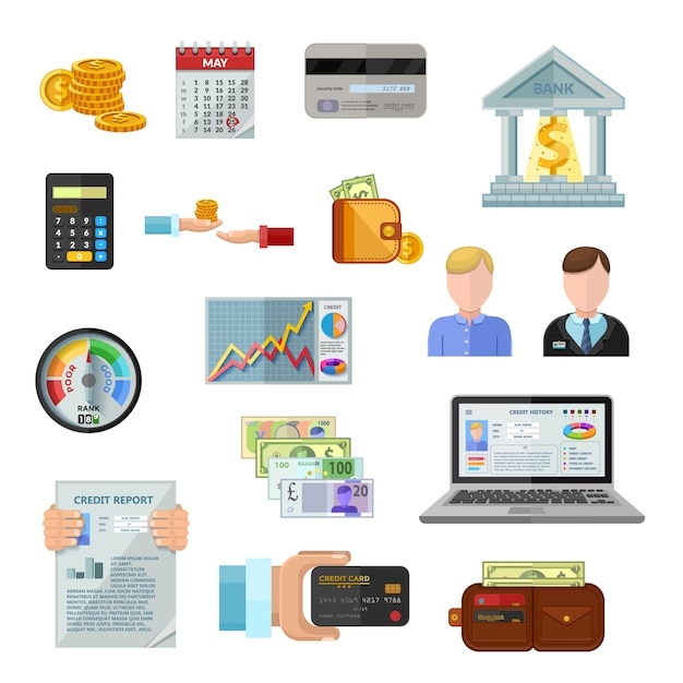 Credit rating icons set Free Vector