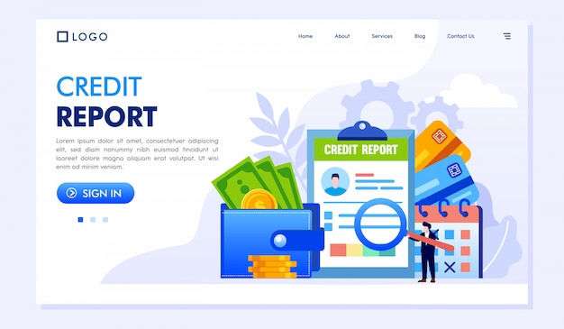 Credit report landing page website illustration Premium Vector