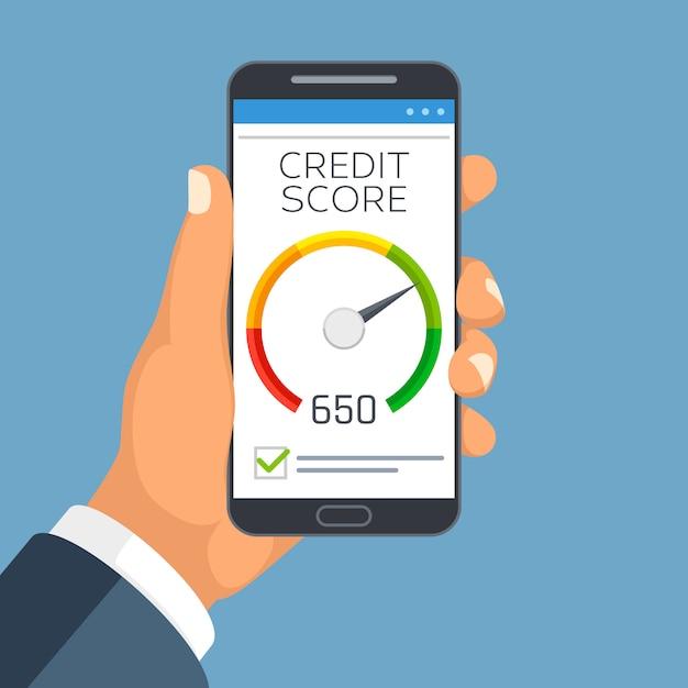 Credit score business report on smartphone screen. Premium Vector