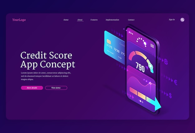 Credit score isometric landing page, bank consumer rating on smartphone screen with application meter. Free Vector